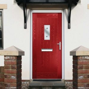 Red composite door with woodgrain effect