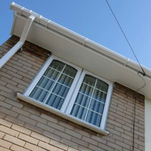 PVCu fascias, soffits and gutter in white