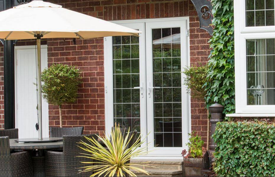 White PVCu French Patio Doors