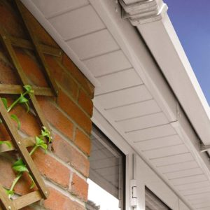 installation of white uPVC roofline products