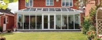Double glazed glass roofed conservatory