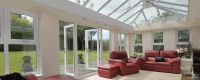 Orangery interior roof and french doors