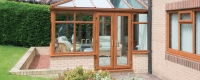 Oak effect uPVC french door for a conservatory