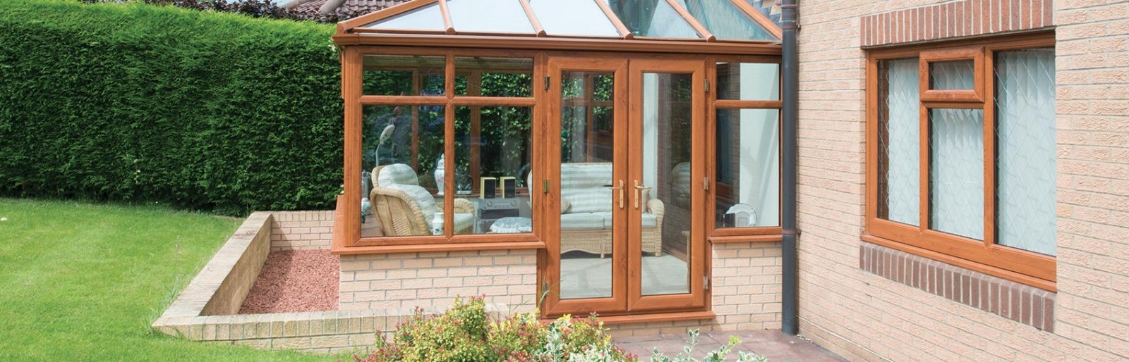 Wood Effect Upvc French Doors Part - 33: Oak Effect UPVC French Door For A Conservatory