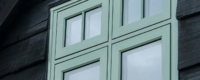 Double glazed flush sash casement windows in Chartwell green