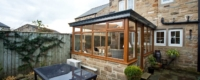 Oak colour LivinRoof conservatory