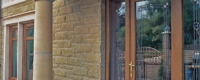 uPVC front door with large glazed panels and decorative glass detail