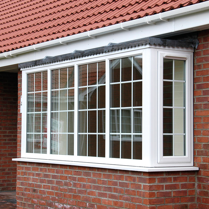 White uPVC bay window with bars