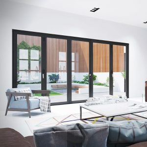 Black aluminium bifold door installation