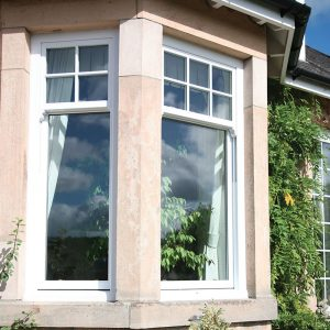 White uPVC bow windows