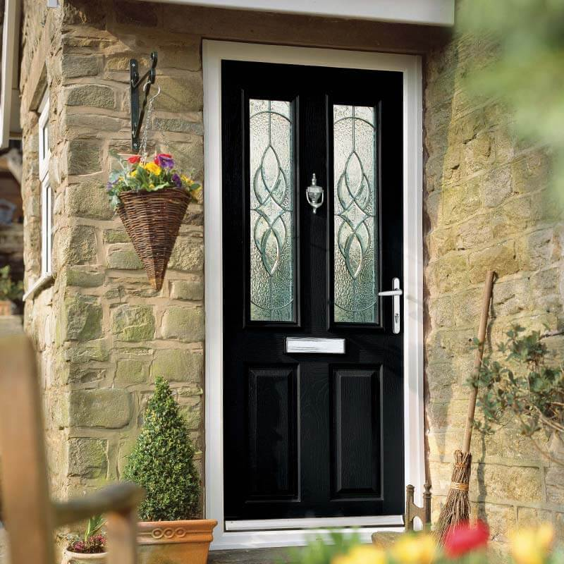 Black front door with chrome hardware