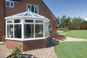 PVCu glass Victorian conservatory in white