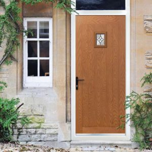 Oak colour door well suited to a cottage