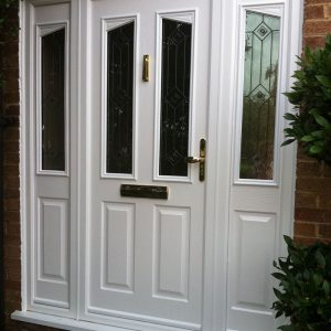 Large white composite door and side panels