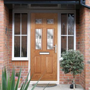 Oak colour composite door with glazed panels