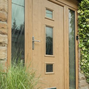 Light oak effect composite entrance door
