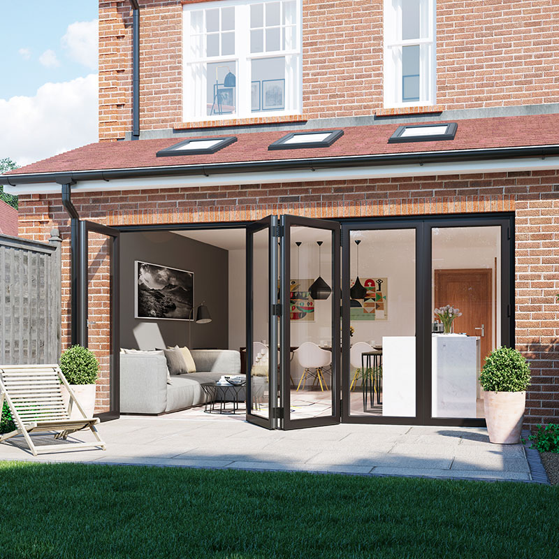 Open aluminium bifold door