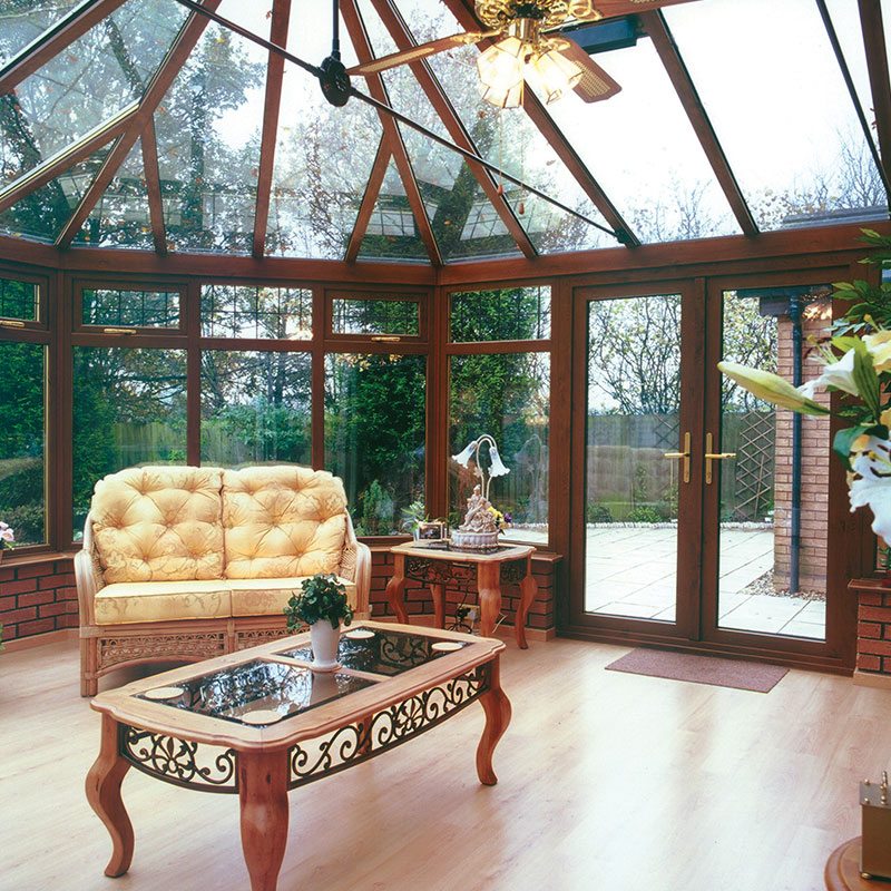 rosewood upvc brown conservatory