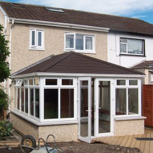 uPVC conservatory with a black tiled roof