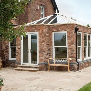 White uPVC orangery and lantern roof