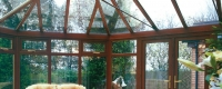 uPVC rosewood conservatory with glazed windows