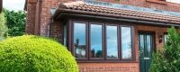 Rosewood uPVC bay window