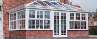 White uPVC glazed orangery extension