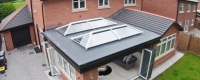 Dual white aluminium roof lanterns