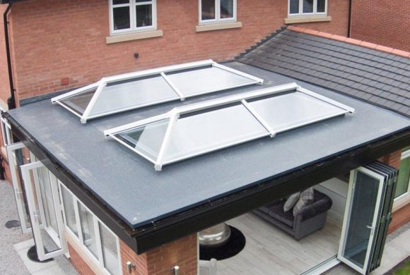double roof lanterns on home extension