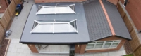 Double lantern roof and glass extension installation