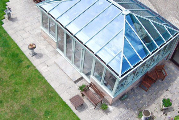 Large glass conservatory with PVCu windows and doors
