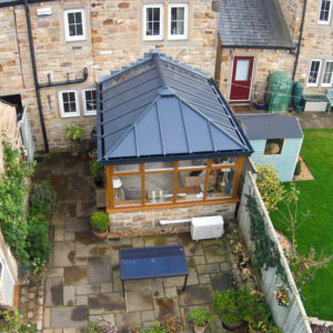 Oak colour PVCu conservatory with LivinRoof