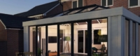A roof lantern installation for a glazed extension